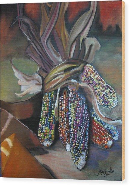 Indian Corn Pastel Wood Print