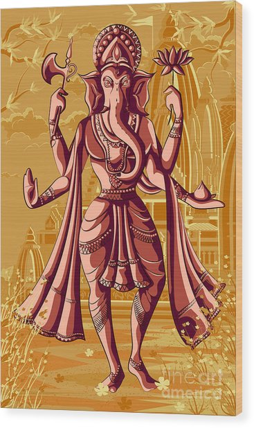 Indian God Ganpati In Blessing Posture Wood Print