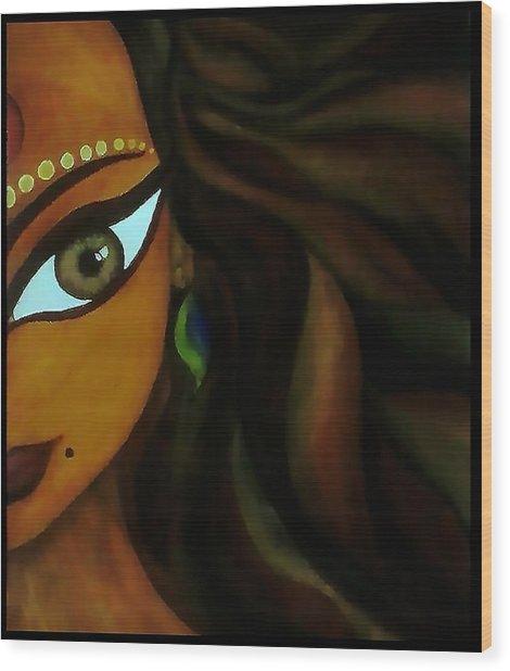 Indian Lady  Wood Print by Sivaanan Balachandran