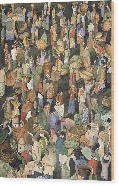 Indian Market Wood Print