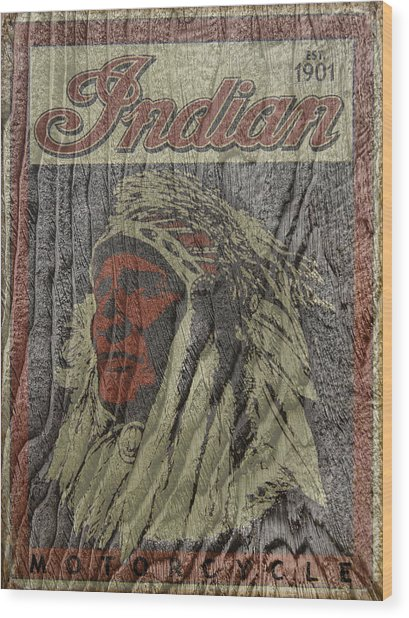 Indian Motorcycle Postertextured Wood Print