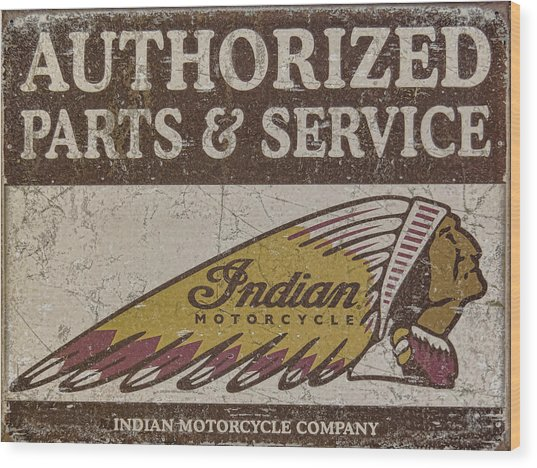 Indian Motorcycle Sign Wood Print