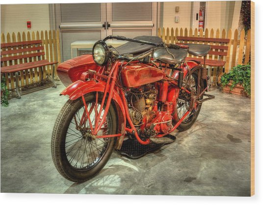 Indian Motorcycle With Sidecar Wood Print