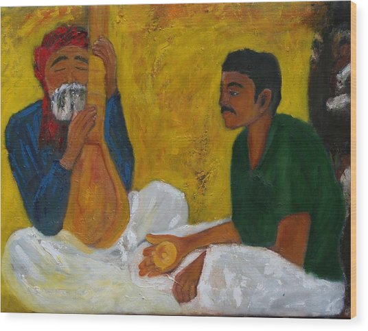 Indian Musicians Wood Print by Neena Alapatt