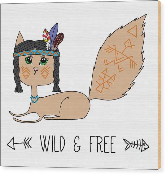 Indian Native American Cat, Sketch Wood Print by Cat Naya