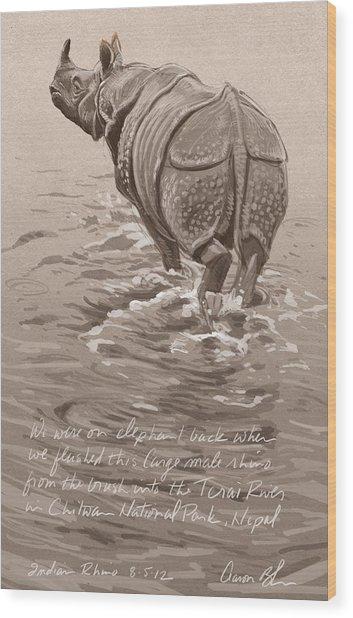 Indian Rhino Wood Print by Aaron Blaise