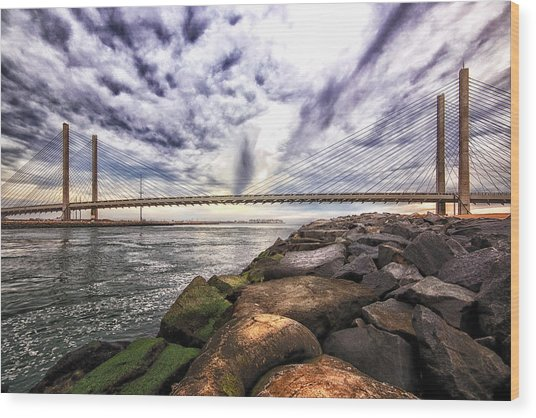 Indian River Bridge Clouds Wood Print