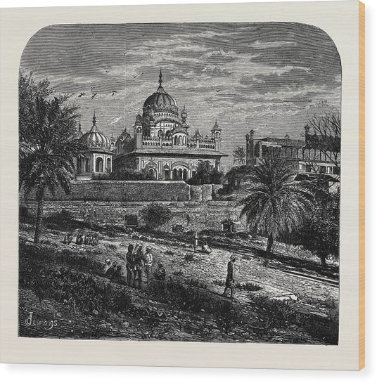 Indian Sketches The Tomb Of Runjeet Singh Wood Print