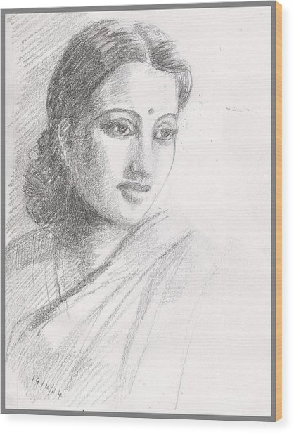 Indian Woman Wood Print