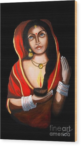 Indian Woman With Lamp Wood Print