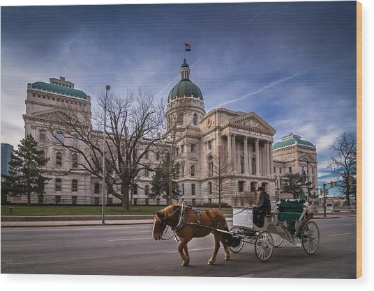 Indiana Capital Building - Front With Horse Passing Wood Print