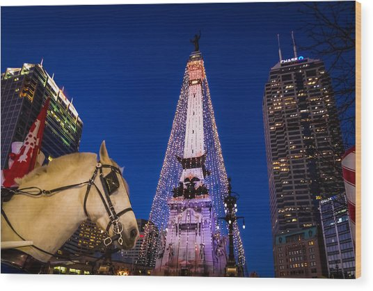 Indiana - Monument Circle With Lights And Horse Wood Print