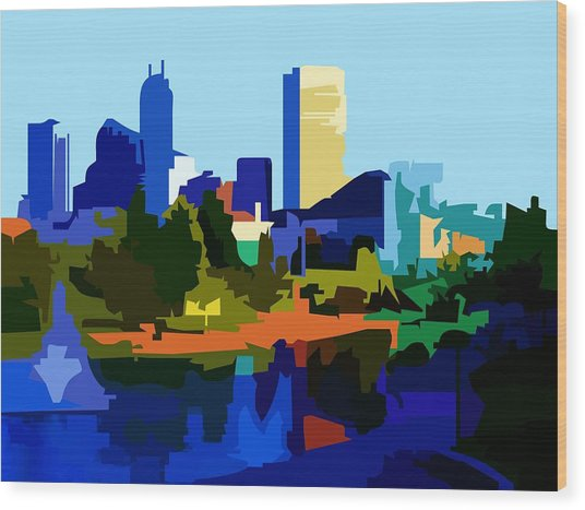 Indianapolis Cityscape Wood Print