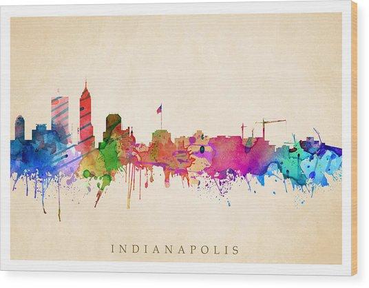 Indianapolis Cityscape Wood Print