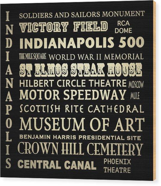 Indianapolis Famous Landmarks Wood Print