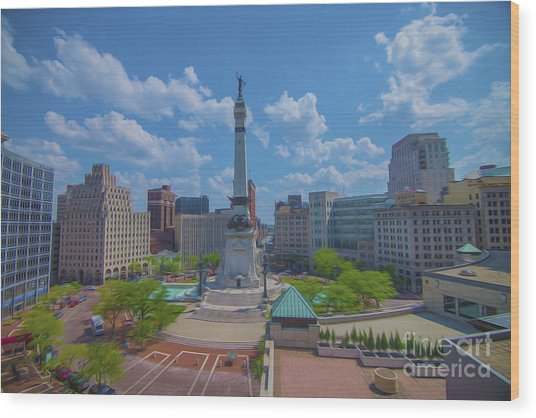 Indianapolis Monument Circle Oil Wood Print
