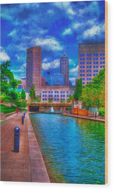 Indianapolis Skyline Canal View Digitally Painted Blue Wood Print