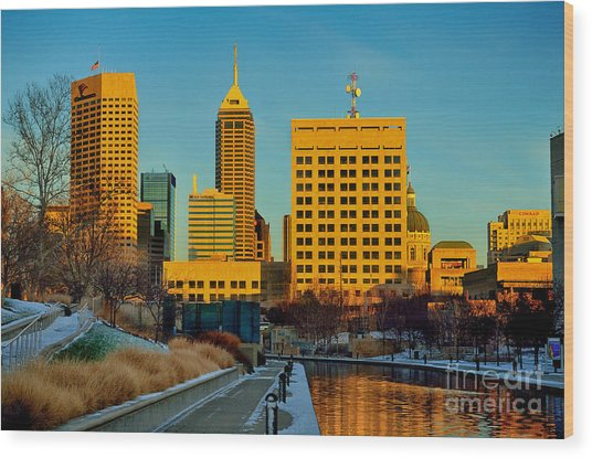 Indianapolis Skyline Dynamic Wood Print