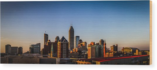 Indianapolis Skyline - South Wood Print
