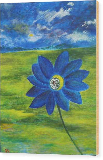 Indigo Blue - Sunflower Wood Print