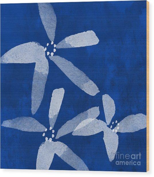 Indigo Flowers Wood Print