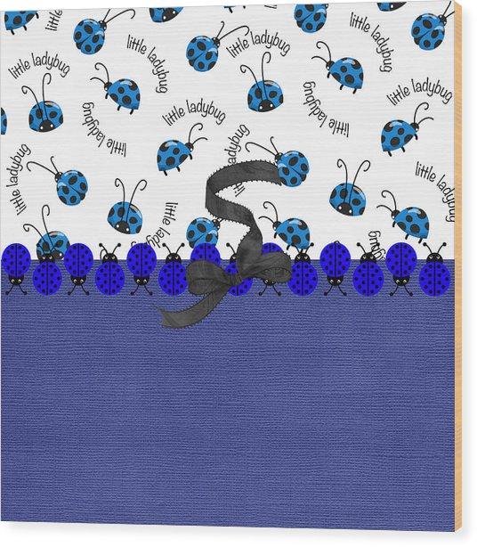 Indigo Ladybugs Wood Print
