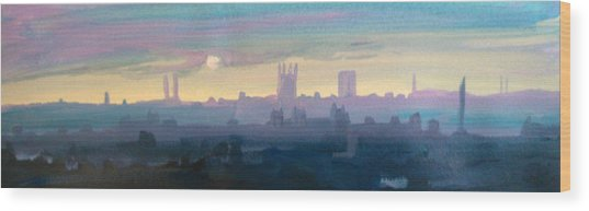 Industrial City Skyline 1 Wood Print by Paul Mitchell