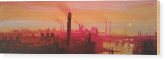Industrial City Skyline 2 Wood Print by Paul Mitchell