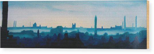 Industrial City Skyline 3 Wood Print by Paul Mitchell