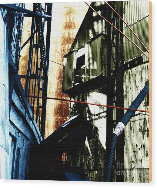 Industrial Landscape Wood Print by Sandy MacNeil