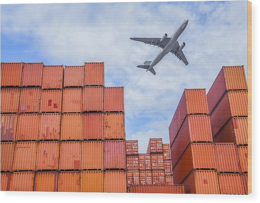 Industrial Port With Containers Wood Print