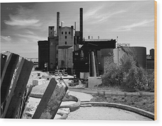 Industrial Power Plant Landscape Smokestacks Wood Print