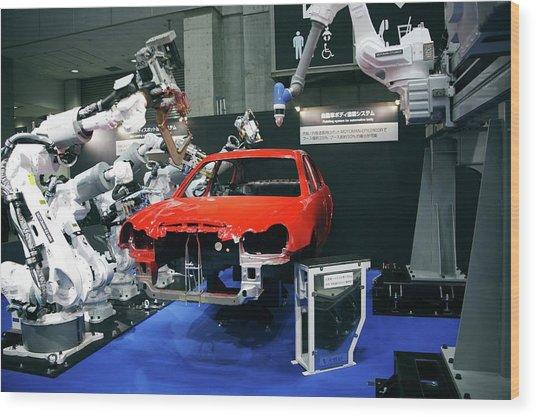 Industrial Production Line Robots Wood Print