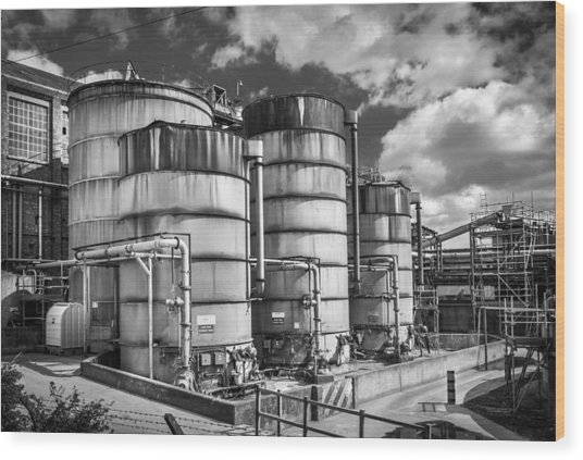 Industrial Silos. Wood Print by Gary Gillette
