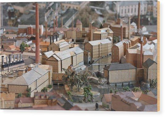 Industrial Town Miniature Model Wood Print