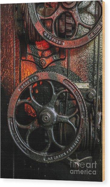 Industrial Wheels Wood Print