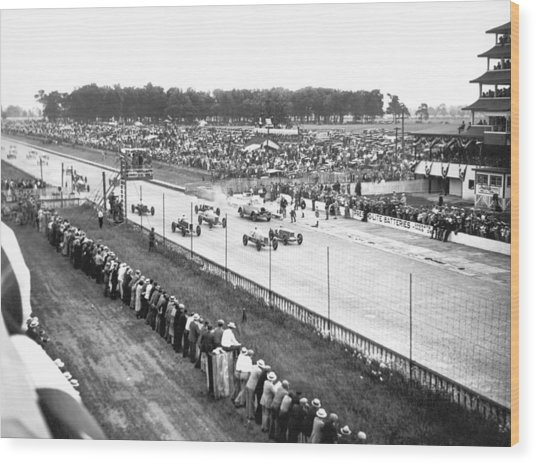 Indy 500 Auto Race Wood Print
