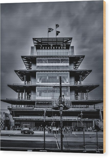 Indy 500 Pagoda - Black And White Wood Print