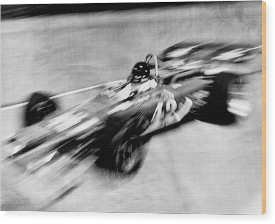 Indy 500 Race Car Blur Wood Print