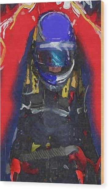 Indy Car Pilot Wood Print