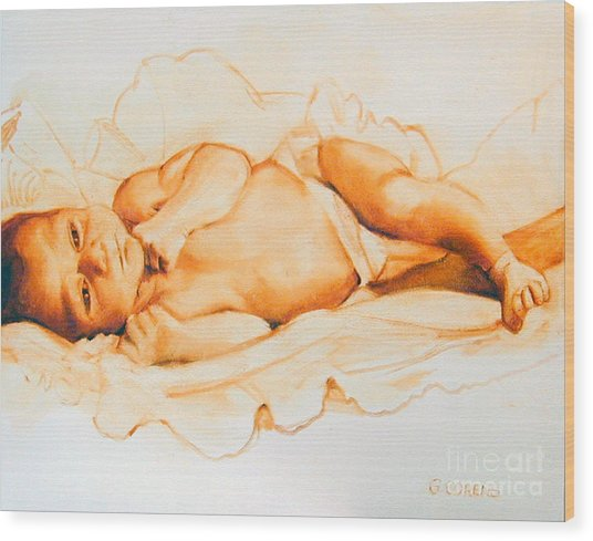 Infant Awake Wood Print