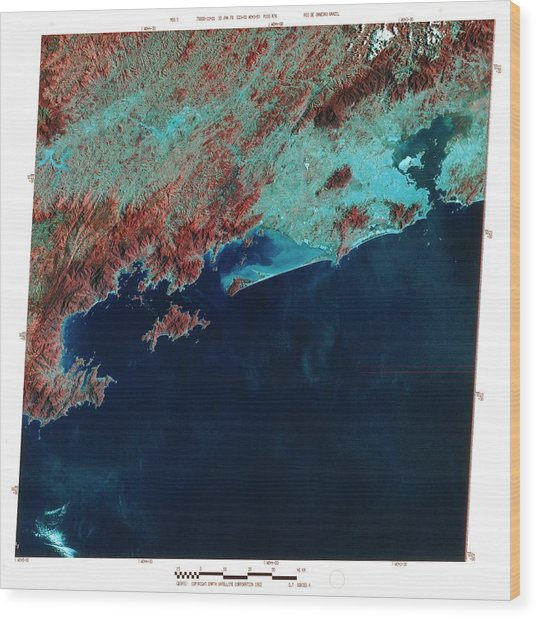 Infrared Satellite Image Of Rio De Janeiro Wood Print by Mda Information Systems/science Photo Library
