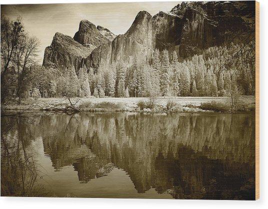 Infrared View Of Yosemite Wood Print