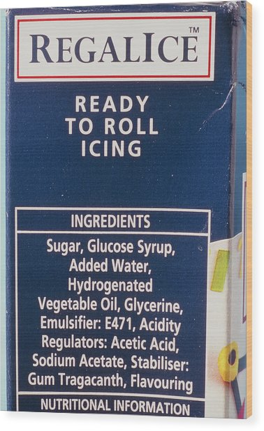 Ingredients Label On Packet Of Ready-made Icing Wood Print