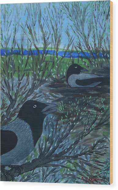 Inis Meain 5 Hooded Crows Wood Print by Roland LaVallee