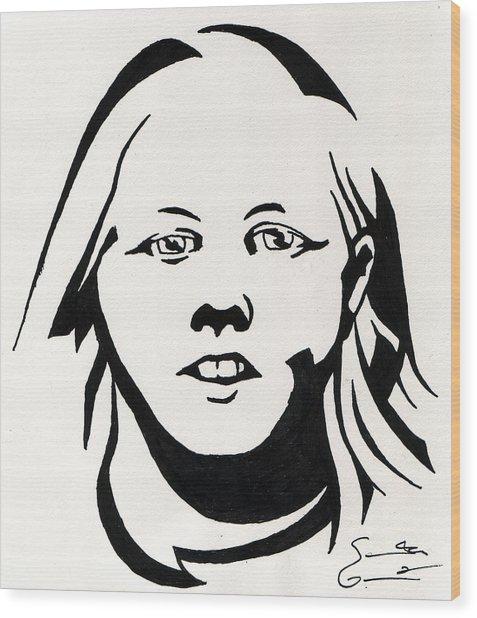 Ink Portrait Wood Print