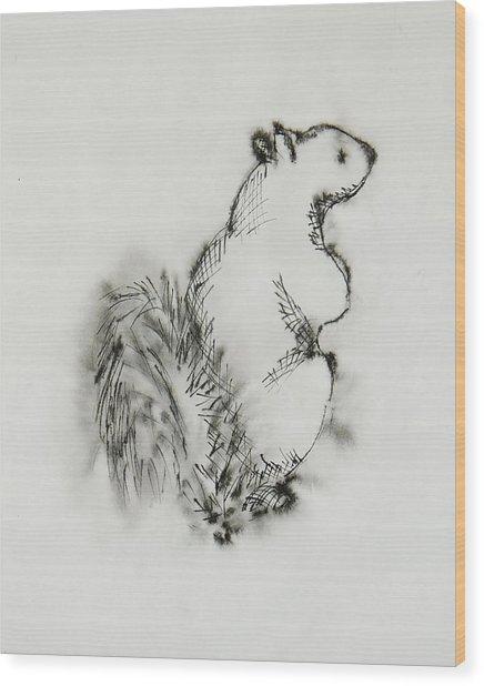 Ink Squirrel Wood Print