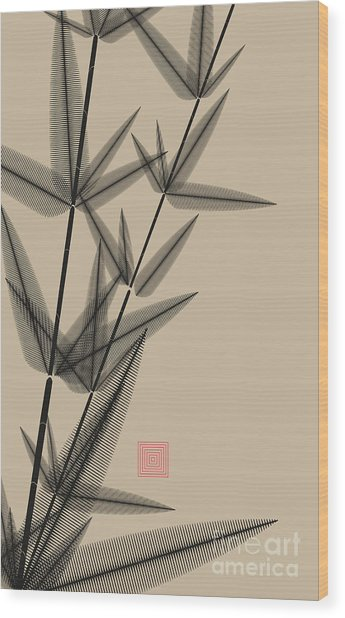 Ink Style Bamboo Illustration In Black Wood Print
