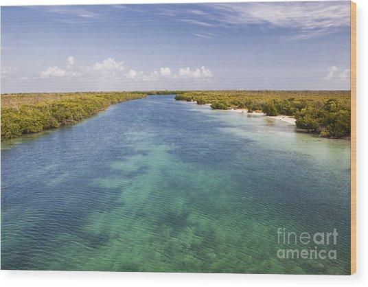 Inlet Leading To Caribbean Ocean Wood Print
