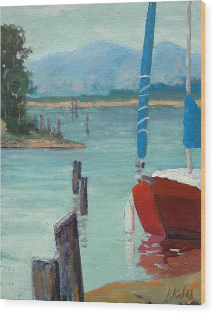 Inlet With Sailboat    Laconner Wa Wood Print by Raymond Kaler